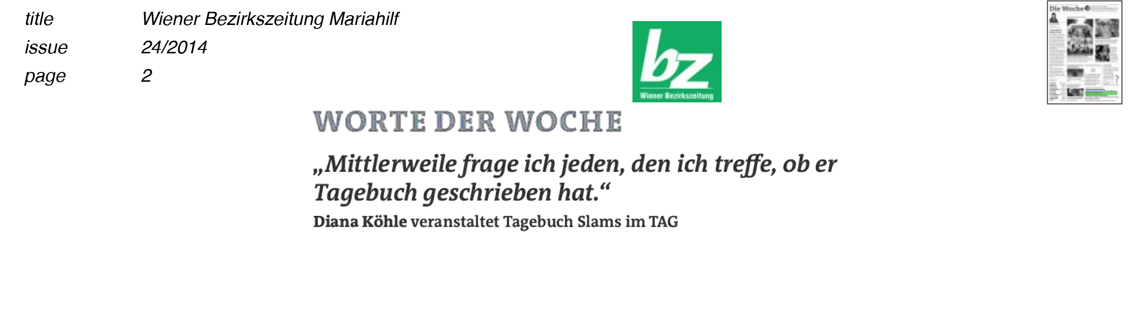 140612_Wiener Bezirkszeitung_Worte der Woche